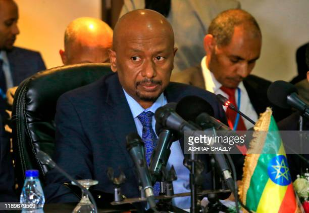 Ethiopian Minister of Water, Irrigation and Electricity Seleshi Bekele takes part in a trilateral meeting to resume negotiations on the Grand...