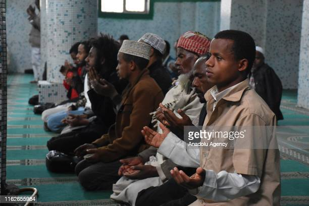 Ethiopian Muslims perform prayer at a Mosque in Addis Ababa, Ethiopia on August 19, 2019. In Ethiopia, the second-most populous country of Africa,...