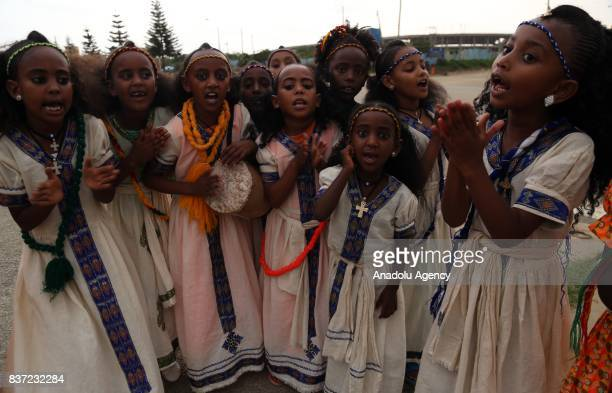 Ethiopian Orthodox Christian girls gather to celebrate Ashenda Festival with their traditional outfits at Romanat Square in Mek'ele of the northern...