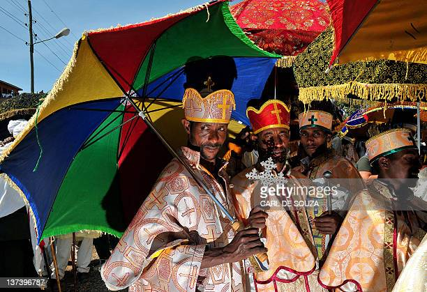 Ethiopian Orthodox Christian priests are pictured during the annual festival of Timkat in Lalibela which celebrates the Epiphany the Baptism of Jesus...