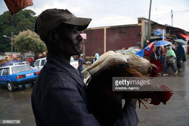 Ethiopian Orthodox Christians are seen at Sholla livestock market during the Holy Saturday ahead the Easter in Addis Ababa, Ethiopia on April 30,...
