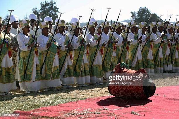 Ethiopian Orthodox Christians hymn during Epiphany celebrations marking Jesus Christ's baptism at Jan Meda playfield in Addis Ababa Ethiopia on...