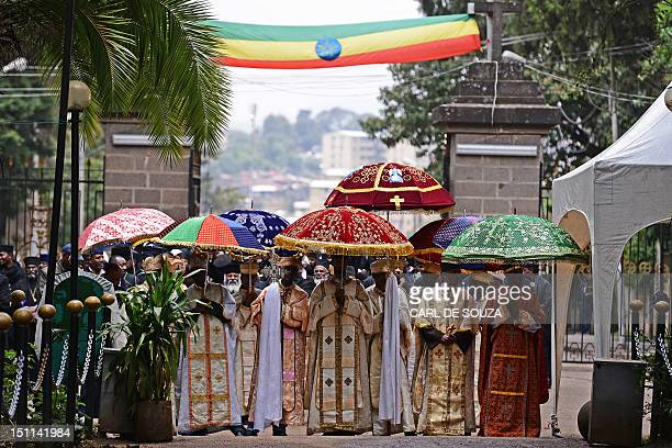 Ethiopian Orthodox priests are pictured at Holy Trinity church for burial of Ethiopian Prime Minister Meles Zenaw in Addis Ababa on September 2 2012...
