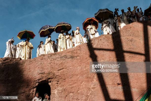 Ethiopian Orthodox priests attend the Christmas celebrations at Saint Mary's Church in Lalibela Christmas at Saint Mary's Church in Lalibela Ethiopia...