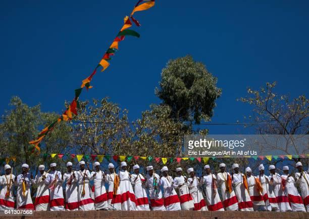 Ethiopian orthodox priests in line celebrating the colorful Timkat epiphany festival on January 19 2017 in Lalibela Ethiopia