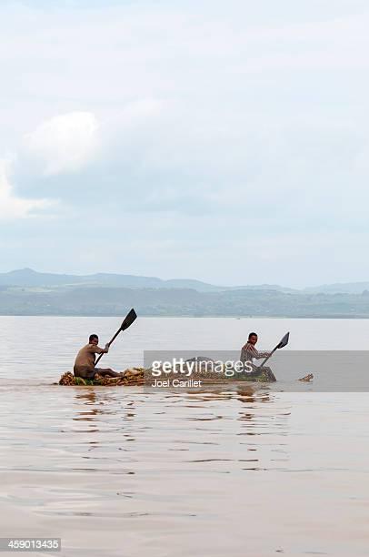 Ethiopian paddling raft on Lake Tana