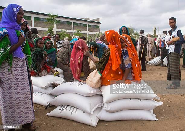 Ethiopian people wait at a food distribution centre semien wollo zone woldia Ethiopia on February 24 2016 in Woldia Ethiopia