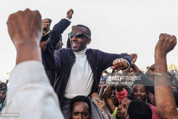 TOPSHOT Ethiopian politician Andualem Arage who was given a life prison sentence in 2012 on accusations of links to the banned Ginbot 7 group reacts...