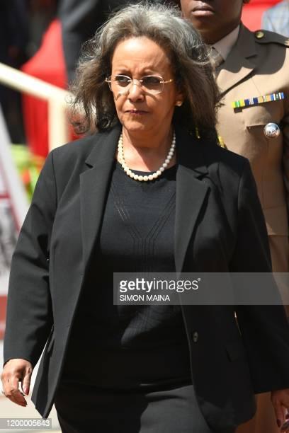 Ethiopian President SahleWork Zewde arrives for the funeral service of former Kenya president Daniel Arap Moi in Nairobi on February 11 2020 Moi...