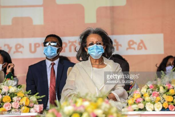 Ethiopian President Sahle-Work Zewde attends the celebration of the 125th victory of Adwa, at Menelik square in Addis Ababa Ethiopia, on March 2,...