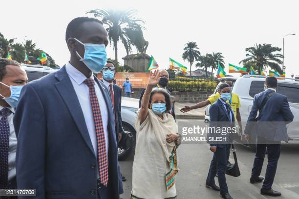 Ethiopian President Sahle-Work Zewde greets the crowd during the celebration of the 125th victory of Adwa, at Menelik square in Addis Ababa,...
