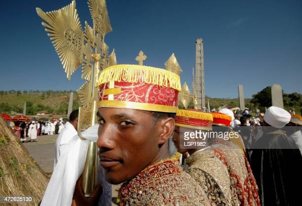 ethiopian priest. axum obelisk. christianity in ethiopia. - ethiopian epiphany stock pictures, royalty-free photos & images