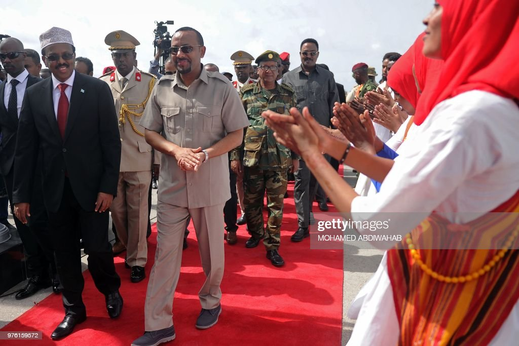 Ethiopian Prime Minister Abi Ahmed is received by Somalia President