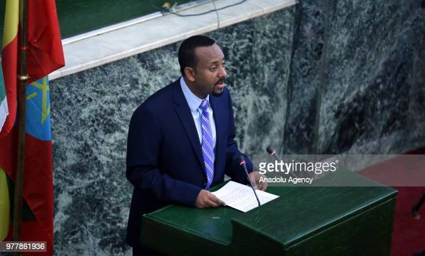 Ethiopian Prime Minister Abiy Ahmed addresses the deputies during Ethiopian parliamentary session in Addis Ababa, Ethiopia on June 18, 2018.