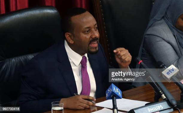 Ethiopian Prime Minister Abiy Ahmed addresses the deputies during the Ethiopian parliamentary session in Addis Ababa, Ethiopia on July 06, 2018.