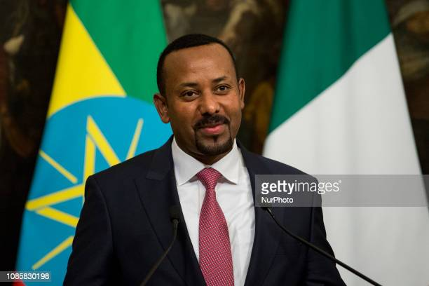 Ethiopian Prime Minister Abiy Ahmed Ali during a press conference at Chigi Palace in Rome, Italy, 21 January 2019.