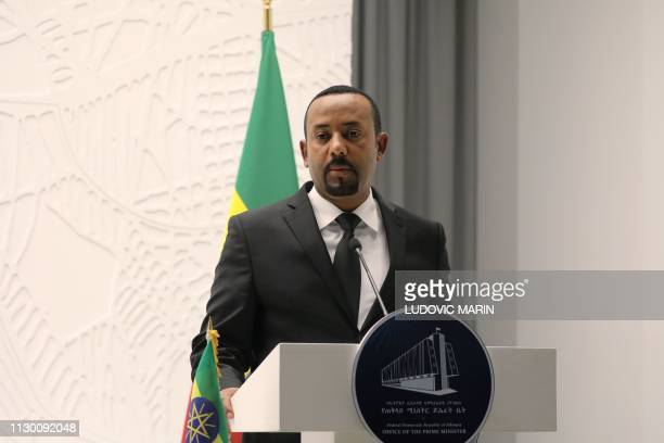 Ethiopian Prime Minister Abiy Ahmed delivers a speech during a meeting with French President on March 12 2019 in Addis Ababa