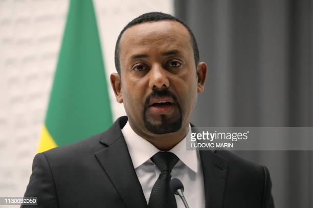 Ethiopian Prime Minister Abiy Ahmed delivers a speech during a meeting with French President on March 12, 2019 in Addis Ababa.