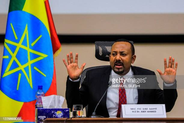 Ethiopian Prime Minister Abiy Ahmed gestures at the House of Peoples Representatives in Addis Ababa, Ethiopia, on November 30, 2020 to respond to the...