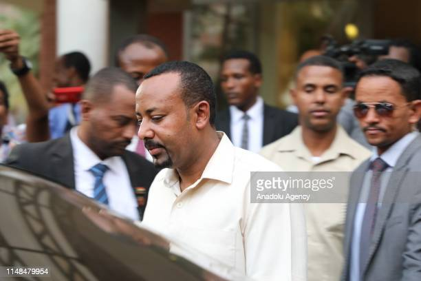 Ethiopian Prime Minister Abiy Ahmed leaves following the mediate talks with a delegation of the Alliance of Freedom and Change, after ruling military...