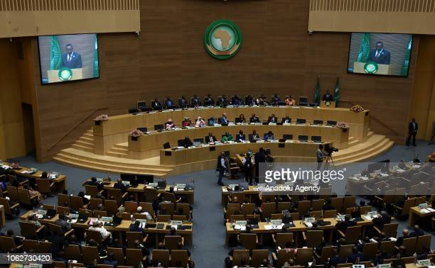 Ethiopian Prime Minister Abiy Ahmed makes a speech during the 11th extraordinary Summit of the African Union deliberating on the continent's reform...