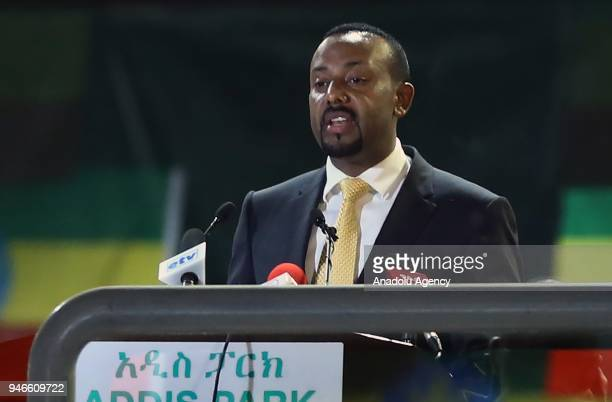Ethiopian Prime Minister Abiy Ahmed makes a speech during the youth meeting at the Millennium Hall in Addis Ababa Ethiopia on April 15 2018