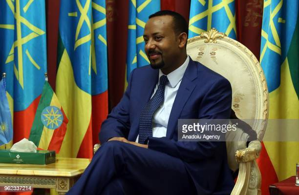 Ethiopian Prime Minister Abiy Ahmed meets President of Rwanda Paul Kagame at National Palace in Addis Ababa Ethiopia on May 25 2018