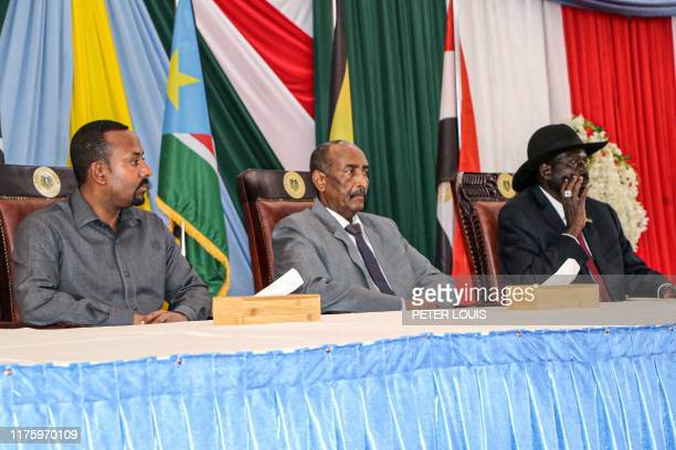 Ethiopian Prime Minister Abiy Ahmed President of Sudanese Transitional Council General Abdel Fattah alBurhan and President of South Sudan Salva Kiir...