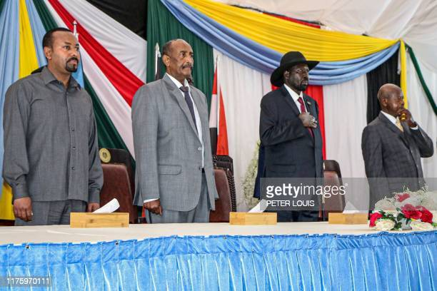 Ethiopian Prime Minister Abiy Ahmed President of Sudanese Transitional Council General Abdel Fattah alBurhan President of South Sudan Salva Kiir and...