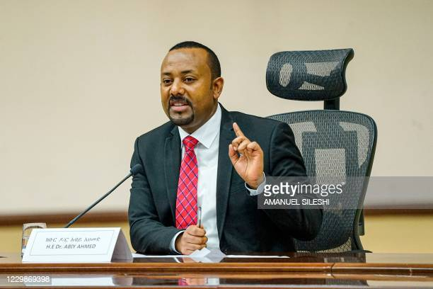Ethiopian Prime Minister Abiy Ahmed speaks at the House of Peoples Representatives in Addis Ababa, Ethiopia, on November 30, 2020 to respond to the...