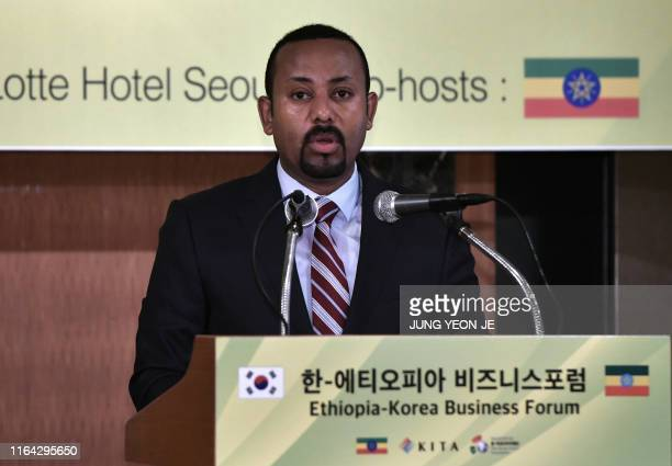 Ethiopian Prime Minister Abiy Ahmed speaks during a business forum in Seoul on August 27, 2019. - Ahmed arrived in Seoul on August 25 for a three-day...