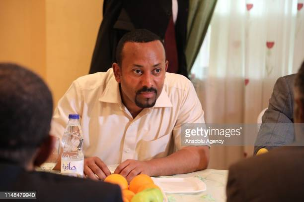 Ethiopian Prime Minister Abiy Ahmed speaks during the mediate talks with a delegation of the Alliance of Freedom and Change after ruling military...
