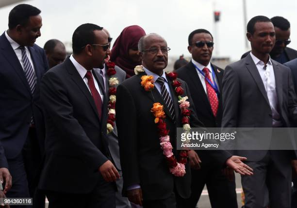 Ethiopian Prime Minister Abiy Ahmed welcomes President of Eritrea Isaias Afwerki's consultant Yemane Gebreab Foreign Minister of Eritrea Osman Saleh...
