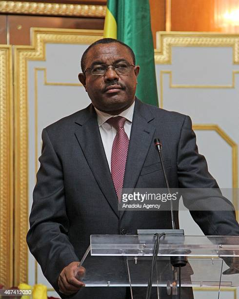Ethiopian Prime Minister Hailemariam Desalegn and Egyptian President Abdel Fattah al-Sisi attend a joint press conference at the Ethiopian National...