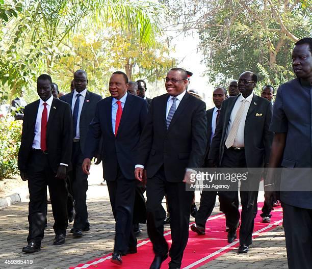 Ethiopian Prime Minister Hailemariam Desalegn and Kenyan President Uhuru Kenyatta arrive for a meeting with South Sudan President Salva Kiir Mayardit...