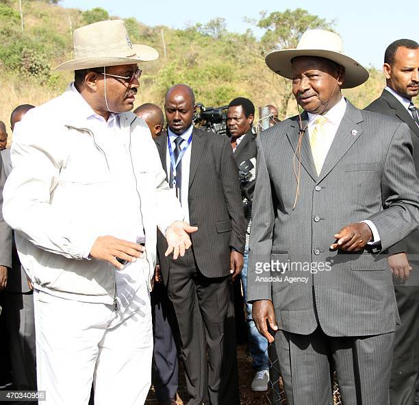 Ethiopian Prime Minister Hailemariam Desalegn and President of Uganda Yoweri Museveni attend a tree planting at Bewazit Park within the 4th Tana...