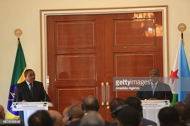 Ethiopian Prime Minister Hailemariam Desalegn holds a joint press conference with Djiboutian President Ismail Omar Guelleh at Djiboutian Presidency...