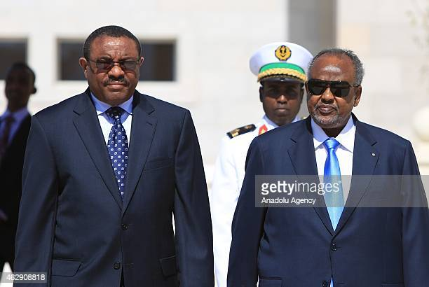 Ethiopian Prime Minister Hailemariam Desalegn is welcomed by Djiboutian President Ismail Omar Guelleh with an official ceremony at Djiboutian...