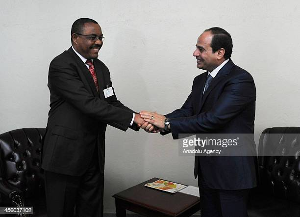 Ethiopian Prime Minister Hailemariam Desalegn meets with Egyptian President Abdel Fattah elSisi within the 69th session of General Assembly of the...