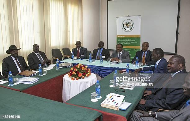 Ethiopian Prime Minister Hailemariam Desalegn South Sudan's President Salva Kiir and South Sudan rebel chief Riek Machar attend a meeting on March 3...