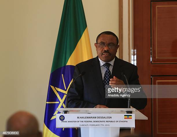 Ethiopian Prime Minister Hailemariam Desalegn speaks during a joint press conference with Djiboutian President Ismail Omar Guelleh at Djiboutian...