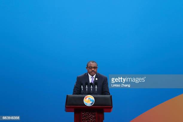 Ethiopian Prime Minister Hailemariam Desalegn speaks during the Belt and Road Forum for International Cooperation on May 14, 2017 in Beijing, China.