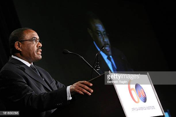 Ethiopian Prime Minister Hailemariam Desalegn speaks during the AfricaAmerica Institute 60th Anniversary Awards Gala at New York Hilton on September...