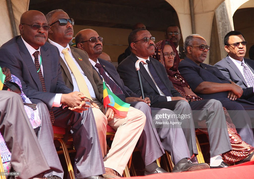 Ethiopian Prime Minister Hailemariam Desalegn (4th R), Sudanese President Omar al-Bashir (3rd L) and Djiboutian President Ismail Omar Guelleh (2nd R) attend a ceremony marking the 9th Nations, Nationalities and People's Day at Asosa stadium in the western city of Assosa, capital of Benishangul-Gumuz State on December 8, 2014. Ethiopians turned the anniversary into a national event nine years ago, dubbing it 'Nations' and Nationalities Day,' during which they celebrate the country's unity and its cultural, religious, linguistic and ethnic diversity.