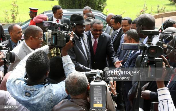 Ethiopian Prime Minister Hailemariam Desalegn welcomes President of South Sudan Salva Kiir Mayardit ahead of their meeting at the National Palace in...
