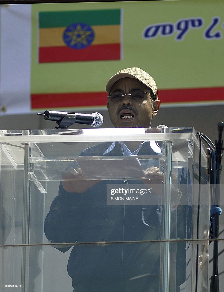 Ethiopian Prime Minister Meles Zenawi addresses supporters on Meskel Square in Addis Ababa on May 25, 2010 as he celebrates a landslide election victory, which the opposition slammed as fraudulent and European observers as unfair. Tens of thousands of ruling party supporters thronged the city square after the electoral commission released preliminary results late on May 24, showing the ruling coalition had a wide lead across the country. But the oppposition charged the 55-year-old strongman, who has ruled sub-Saharan Africa's second most populous country for two decades, had rigged his way to re-election in the May 23 polls.