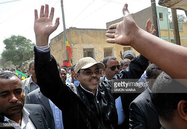 Ethiopian Prime Minister Meles Zenawi arrives to cast his vote at a polling station in Adwa 900km north on May 23 2010 of the capital Addis Ababa...