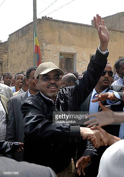 Ethiopian Prime Minister Meles Zenawi arrives to cast his vote at a polling station in Adwa 900km north of the capital Addis Ababa on May 23 2010...