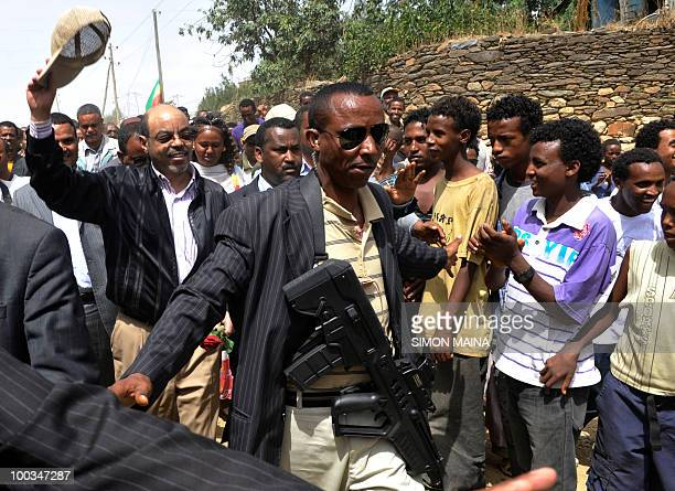 Ethiopian Prime Minister Meles Zenawi arrives to cast his vote at a polling station in Adwa 900km north on May 232010 of the capital Addis Ababa...