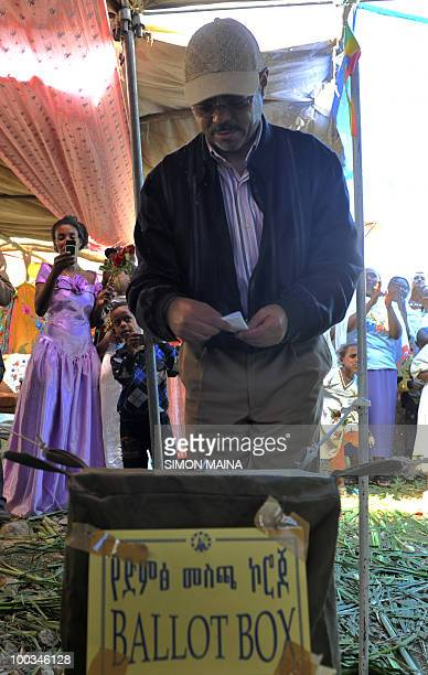 Ethiopian Prime Minister Meles Zenawi casts his vote at a polling station in Adwa 900km north of the capital Addis Ababa on May 23 2010 Ethiopians...